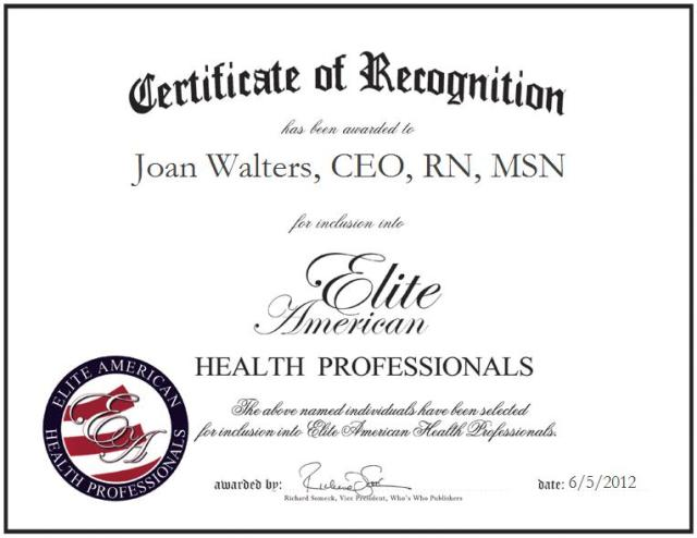 Joan Walters, CEO, RN, MSN