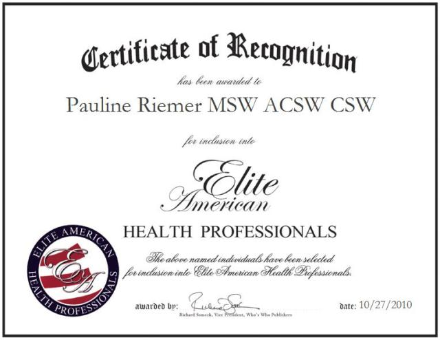 Pauline Riemer MSW ACSW CSW
